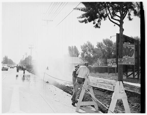 Busted water main (13400 block on Ventura Boulevard Sherman Oaks), 1951
