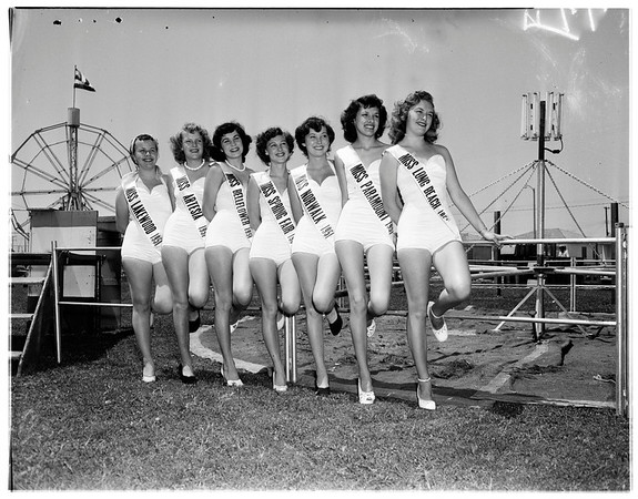 Los Angeles County spring fair (beauty queens at Bellflower), 1951