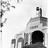 Air raid sirens atop hall in Van Nuys, 1951
