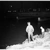 Canadian sailors drive off Los Angeles River bridge at Ocean Boulevard, Long Beach... only one slightly hurt, 1952
