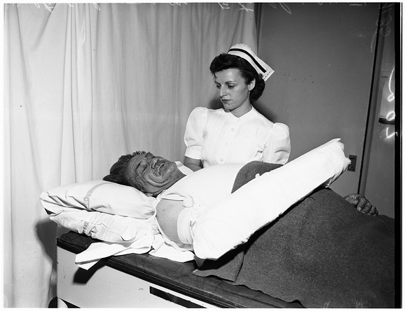 Truck driver hurt, 1951