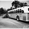 Los Angeles Transit Lines bus and auto crash... Wilshire Boulevard and Lafayette [Park Place], 1952