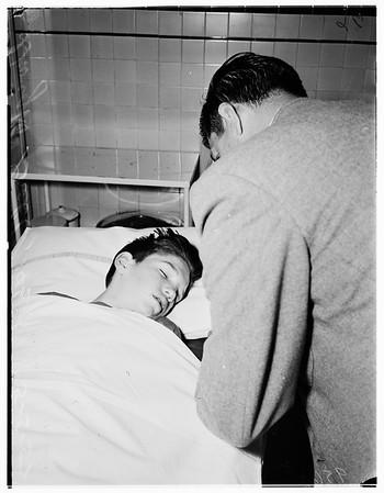 Boy found sleeping in rear of 7072 Hawthorne Avenue (Hollywood Receiving Hospital), 1952.
