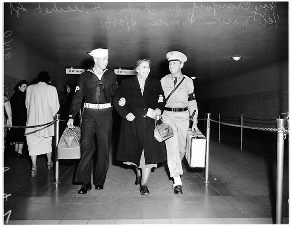Mother of Korean sailor enrout to San Diego, 1951