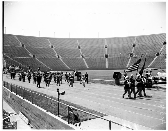 Memorial services in coliseum, 1951
