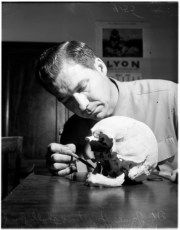 Skull found in mountains in back of Altadena (Sierra Madre Mountains), 1951
