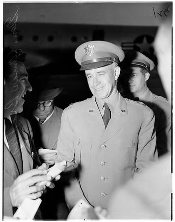 Omar Bradley arrival -- Lockheed Airport, 1951