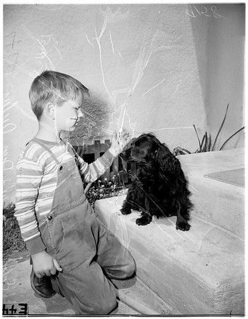 Dog warns of fire (1715 Junipero Avenue in Long Beach), 1951