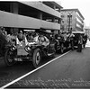 Horseless carriages start trip from General Petroleum Garage at 8th and Flower, 1951