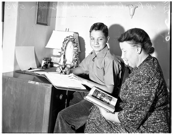 Wins scholarship, 1951