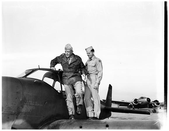 Major General Kean arrival at airport, 1951