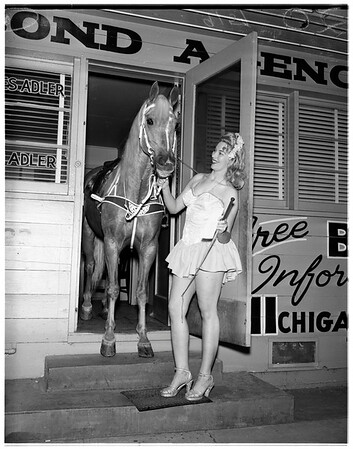 Lady Godiva and horse stunt, 1951