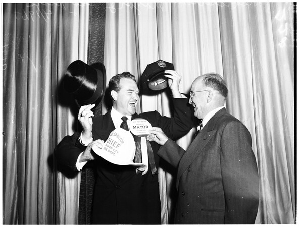 """Red"" Skelton installed as honorary Mayor of Culver City, 1951"