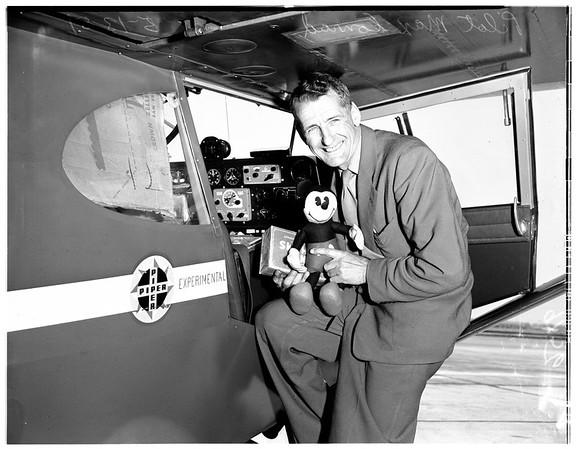 Non stop flight (light plane) Los Angeles to New York, 1951