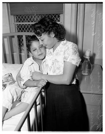 Choir boy injured in playground fall, 1951
