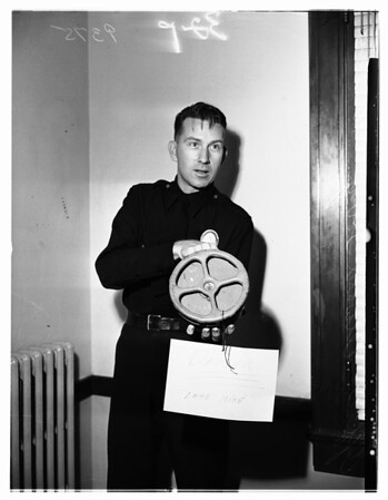 Armed land mine ...bought as souvenir ...Turned in by Leroy Prinz after discovery it was armed, 1951