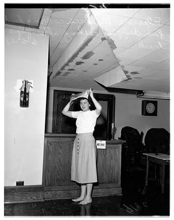 Broken water pipe in city hall, 1951