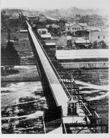 A birds-eye-view of an elevated cycle way, 1900