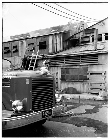 Fire -- glass works -- 7500 Roseberry Avenue, 1951
