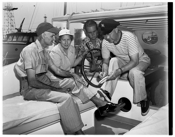 """Turning over yacht """"Colleen"""" to Adventist Church, 1951"""
