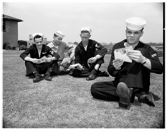 "U.S.S. Hospital ship ""Consolidation"" returns to San Diego with Korea wounded, 1951"