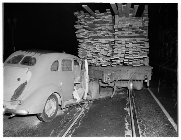 Train vs auto at Santa Monica and Gower, 1951