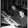 Teen twin --- aged artist win scholarships, 1951