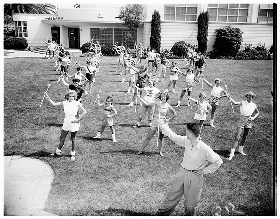Baton twirlers at Pepperdine College, 1951