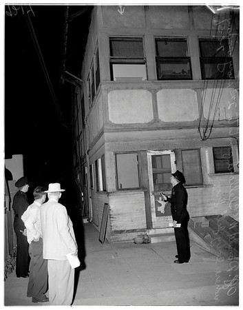 Baby falls from second story, 1951