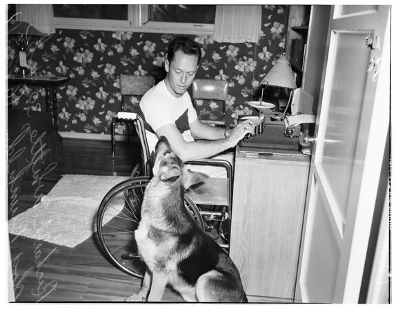 Paraplegic veteran seeks job, 1951