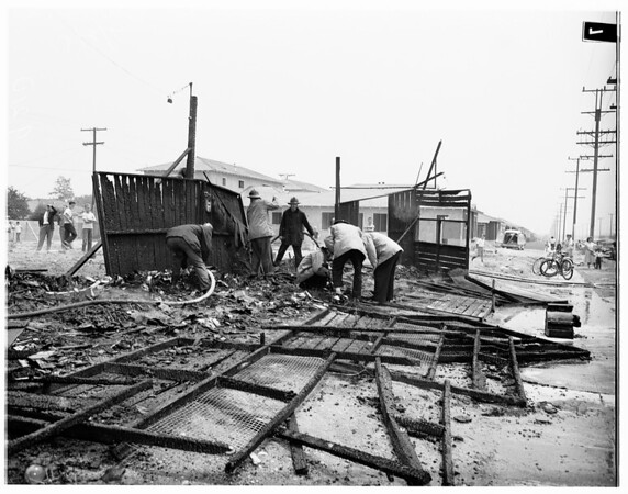 Fireworks stand burns (Hollywood Way and Victory Boulevard), 1951