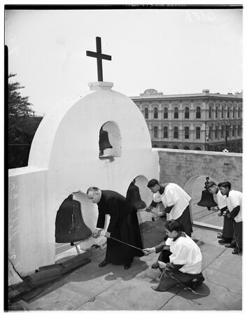 Ringing bell of Old Plaza Church, 1951