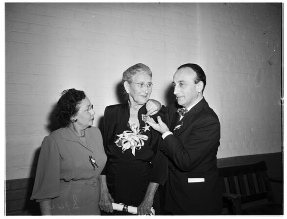 Italian Women's Club holds family annual dinner party ...President emeritus receives Republic of Italy award, 1951