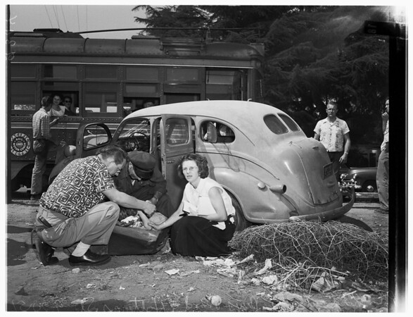 Pacific Electric versus auto (Van Nuys Boulevard and Hatteras Street, Van Nuys), 1951