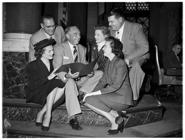 """Movietime USA"" celebration at City Council, 1951"