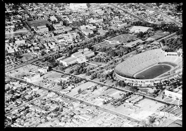 Aerial photograhs of proposed parking area around Coliseum, 1951