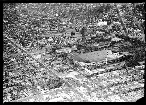 Aerial photograhs of proposed parking area around Coliseum, 1951