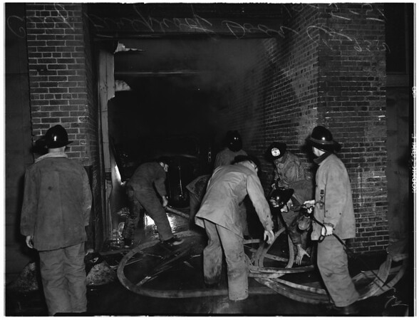 Fire...1923 South Los Angeles...firemen, 1951