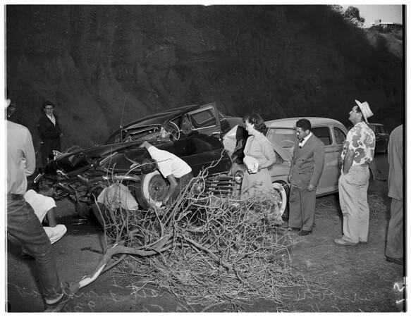 Car off cliff...Sunset Boulevard, 1/2 mile east of Chautauqua, 1951.