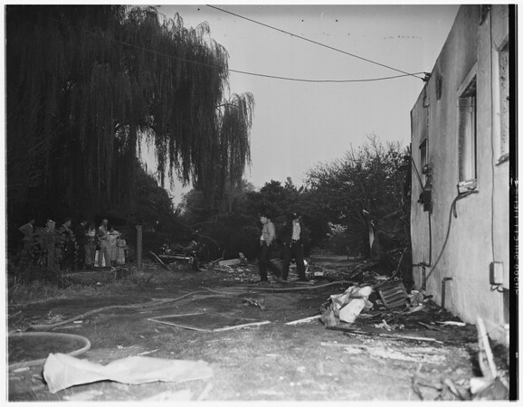 Plane crash and fire...West El Monte, 1951