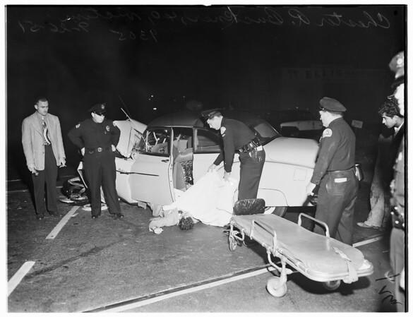Auto versus train...East Washington Boulevard, 1951