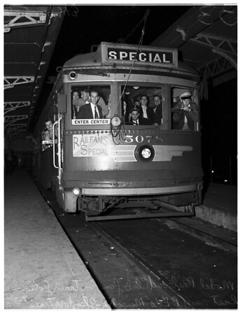 Last Pacific Electric Train on Monrovia-Glendora run, 1951.