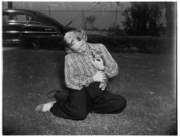 Ex-trapped kitten adopted (Long Beach), 1951