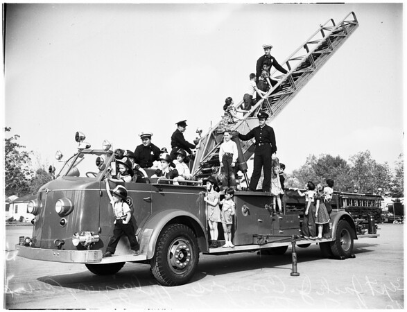 Fire Prevention Week (Demonstration of Los Angeles County Fire Department, Laurel Grade School, 925 North Hayworth Avenue), 1951