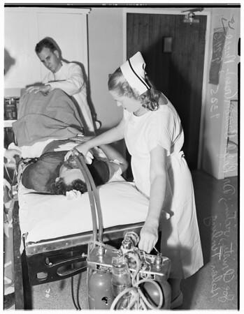 Burglar suspect shot...Santa Monica, 1951