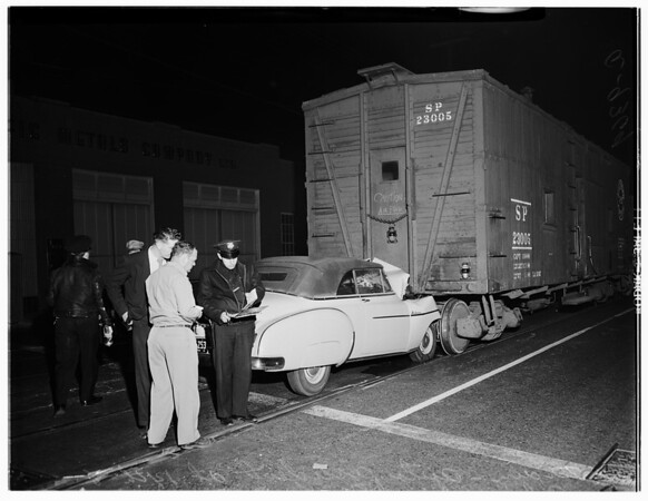 Train versus auto accident (14th Street and Alameda Street), 1951