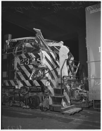 Two freight trains collide under 6th Street bridge, 1951