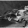 Car off cliff...Sunset Boulevard, 1/2 mile east of Chautauqua, 1951.