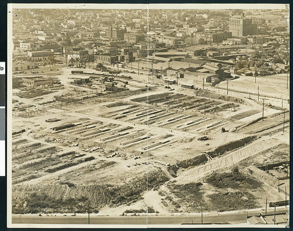 Union Passenger Terminal, under construction, Los Angeles, 1936