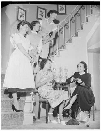 Society...Flower Guild Women planning party, 1951